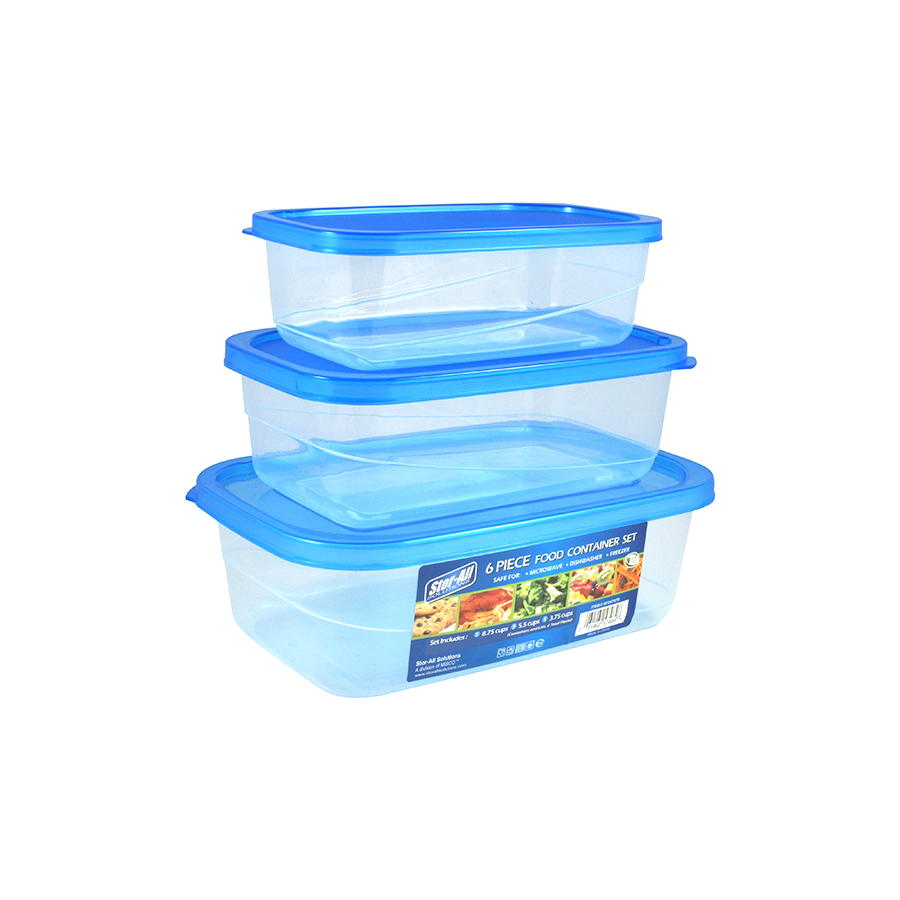 6 Pcs Rectangle Food Storage Set