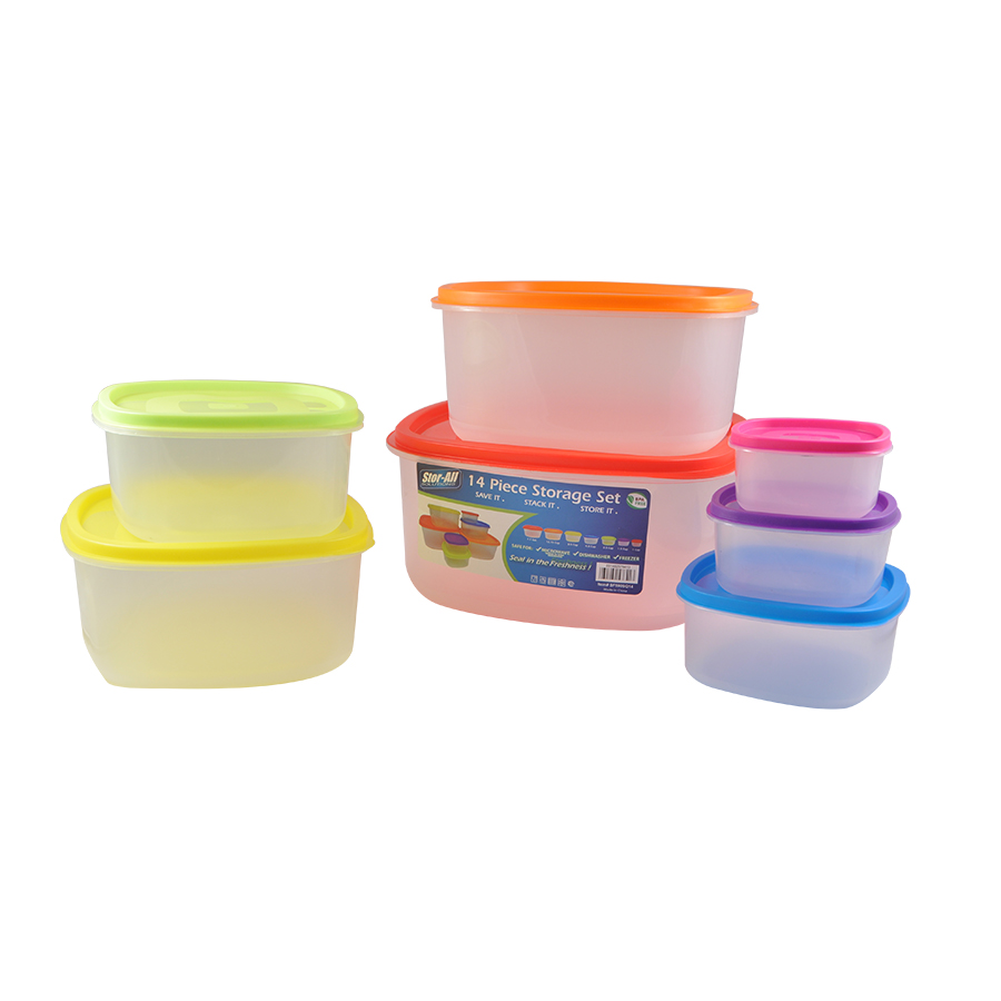 14 Pieces Square Rainbow Lid Set