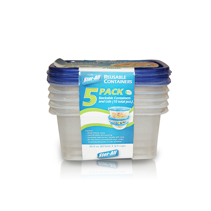 1.69 Cup Rectangle Storage Container (5 Pack)