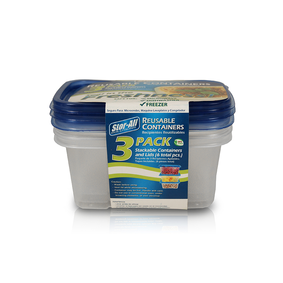 3 Cup Rectangle Storage Container (3 Pack)