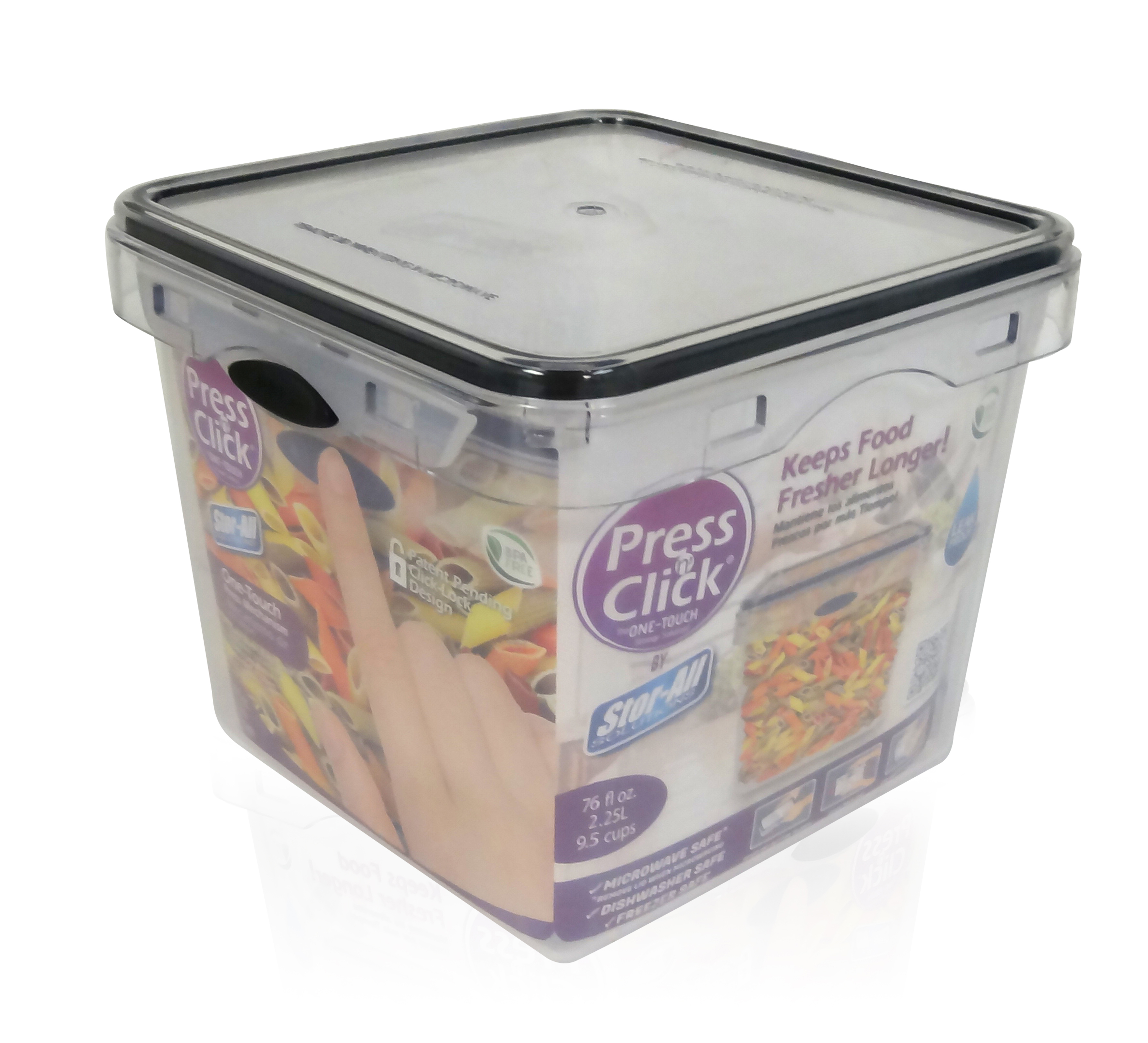 9.5 Cup Square Press N' Click Food Storage