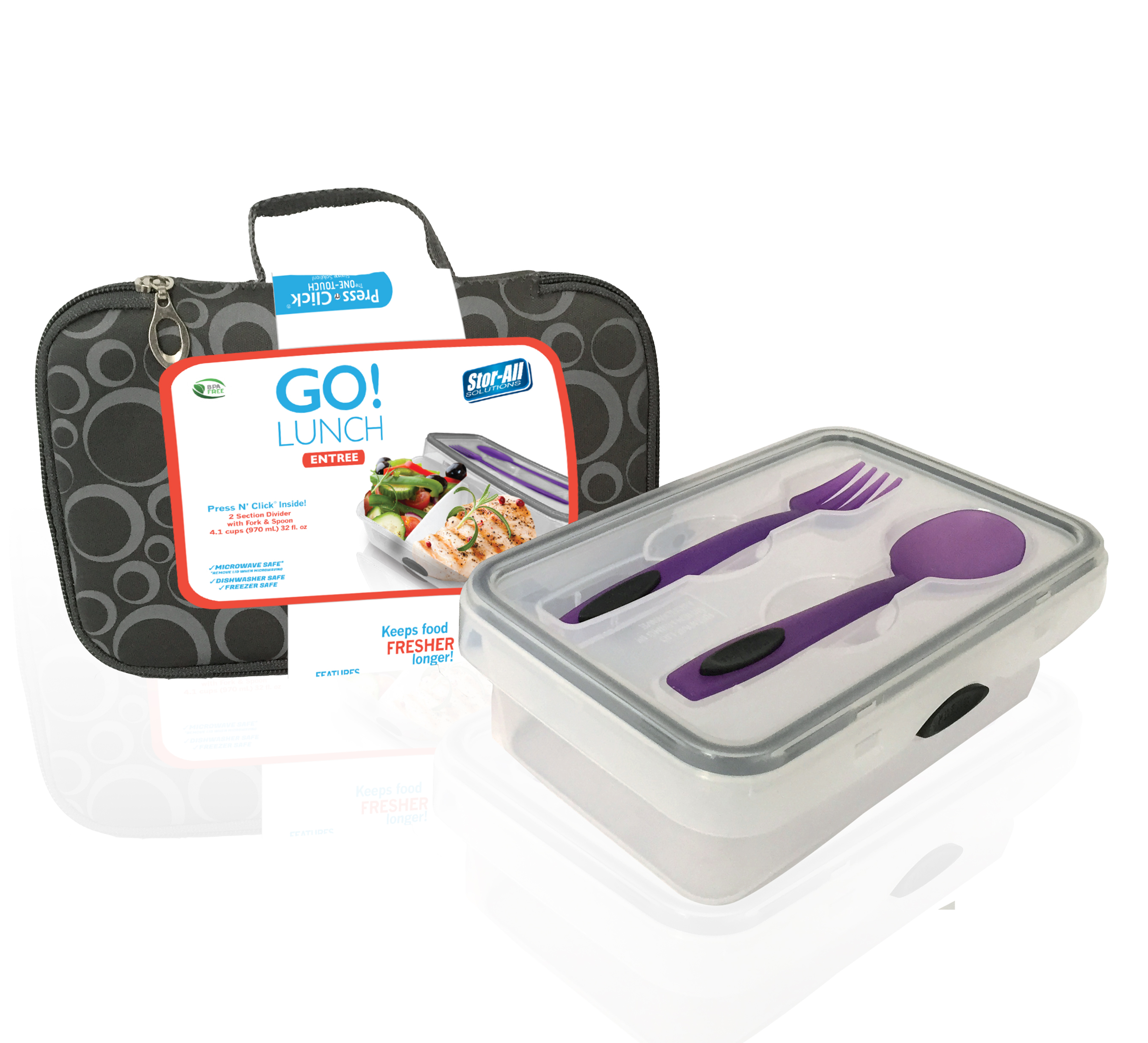 Go! Lunch Entr_e w/ Cutlery (Includes 4.1 Cup Rect. Press N' Click Container)